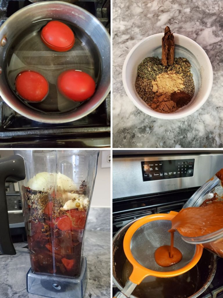 pot filled with water and 3 red tomatoes, a bowl with spices, a blender with ingredients, red sauce being poured over a strainer into a pot