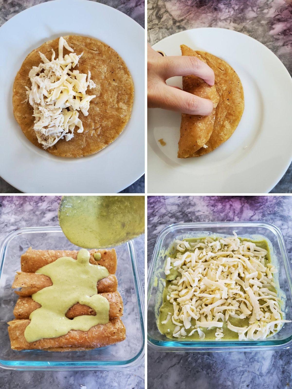 yellow corn torilla, white plate filling, green salsa