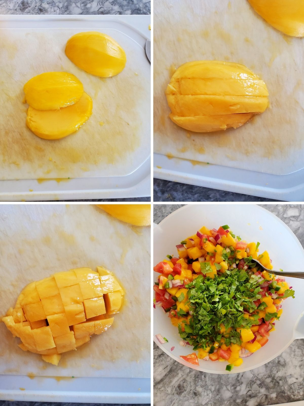 white cutting board, yellow mango