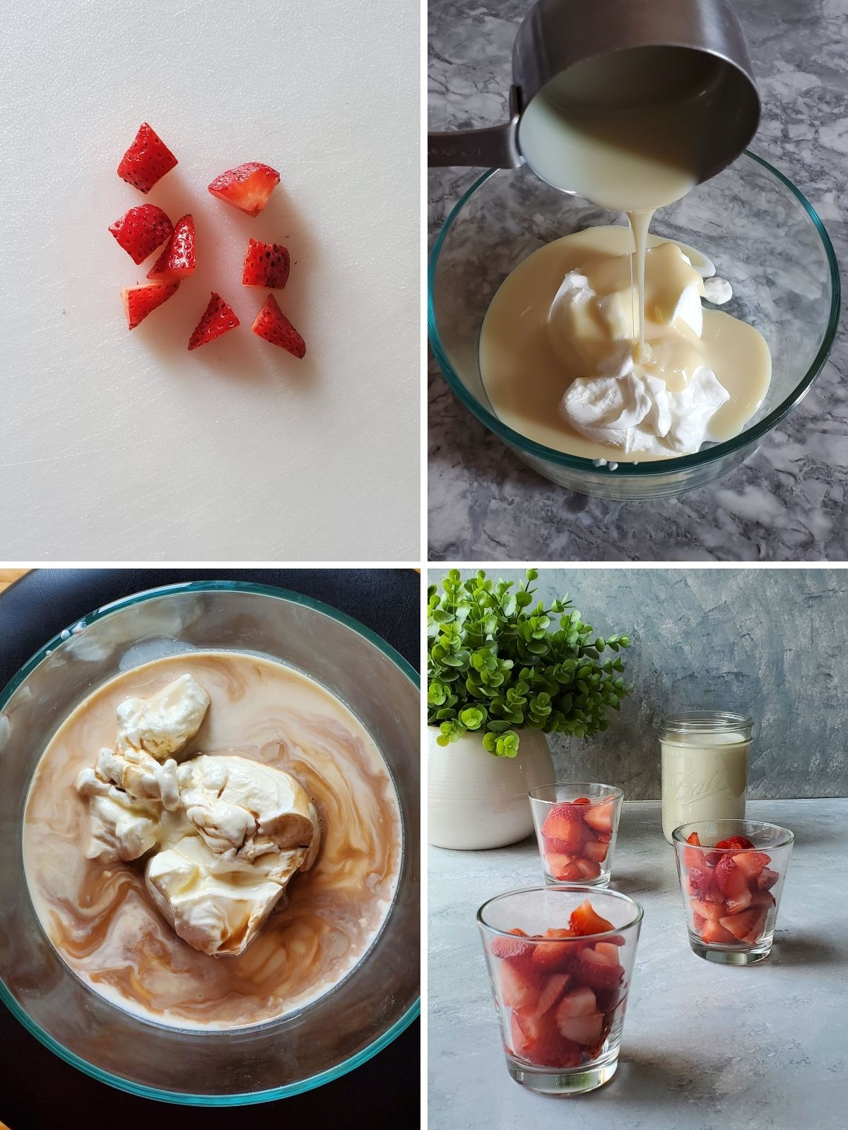 4 pictures of the step by step process of how to make fresas con crema