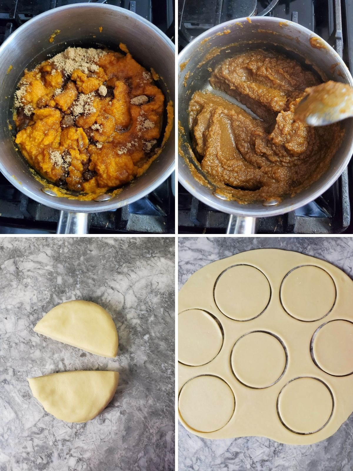 pumpkin filling in pot and rolled out empanada dough