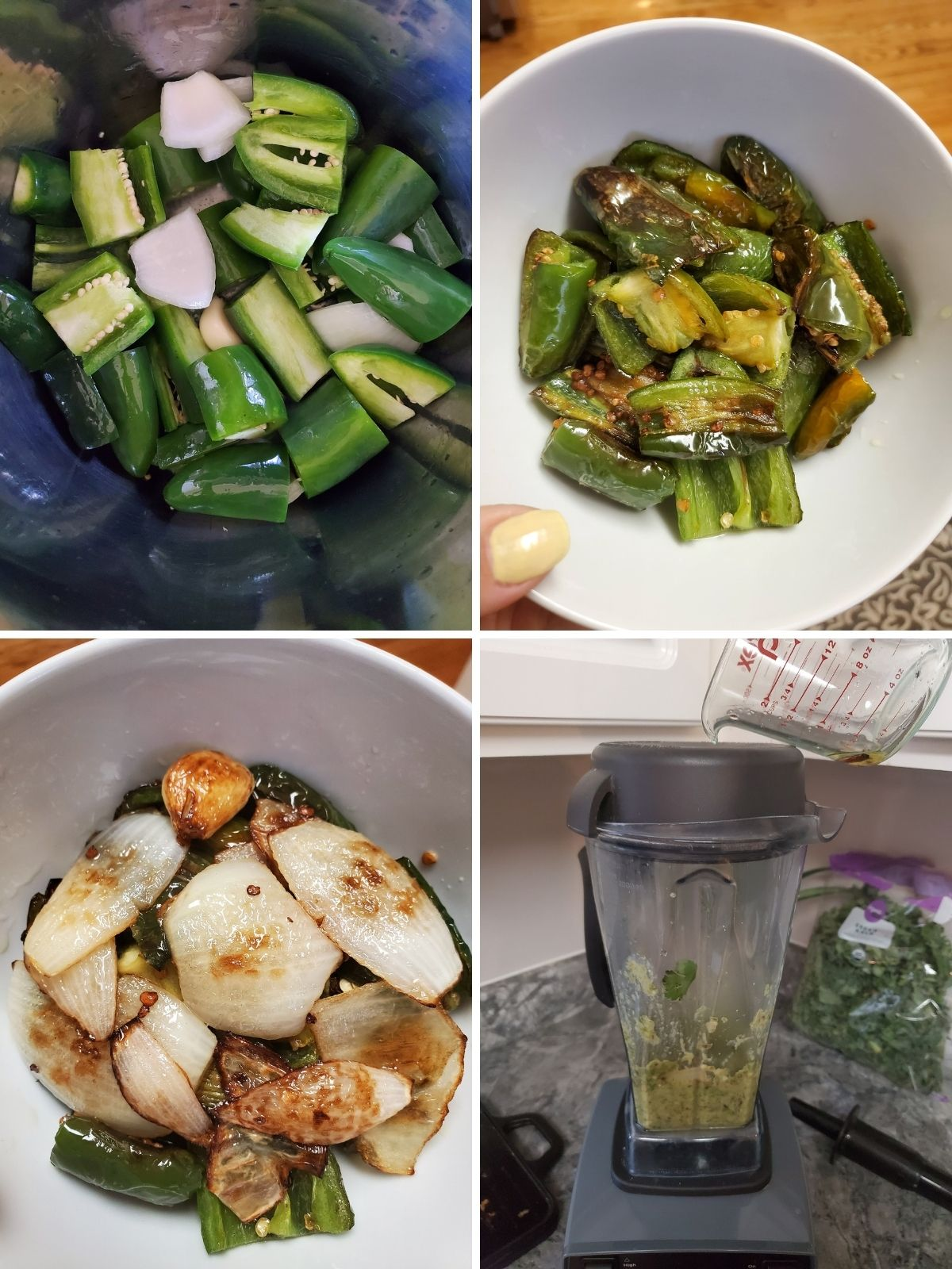 4 process photos of how to cook the ingredients