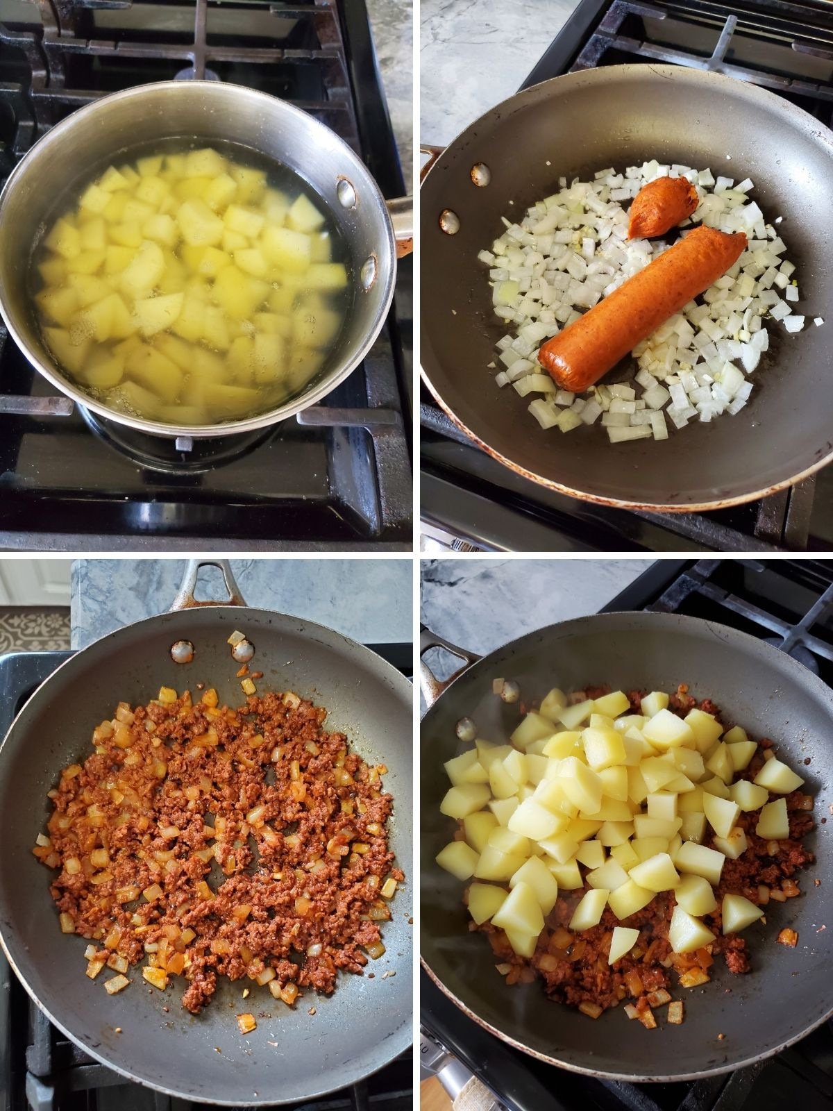 4 pictures, each of the cooking process