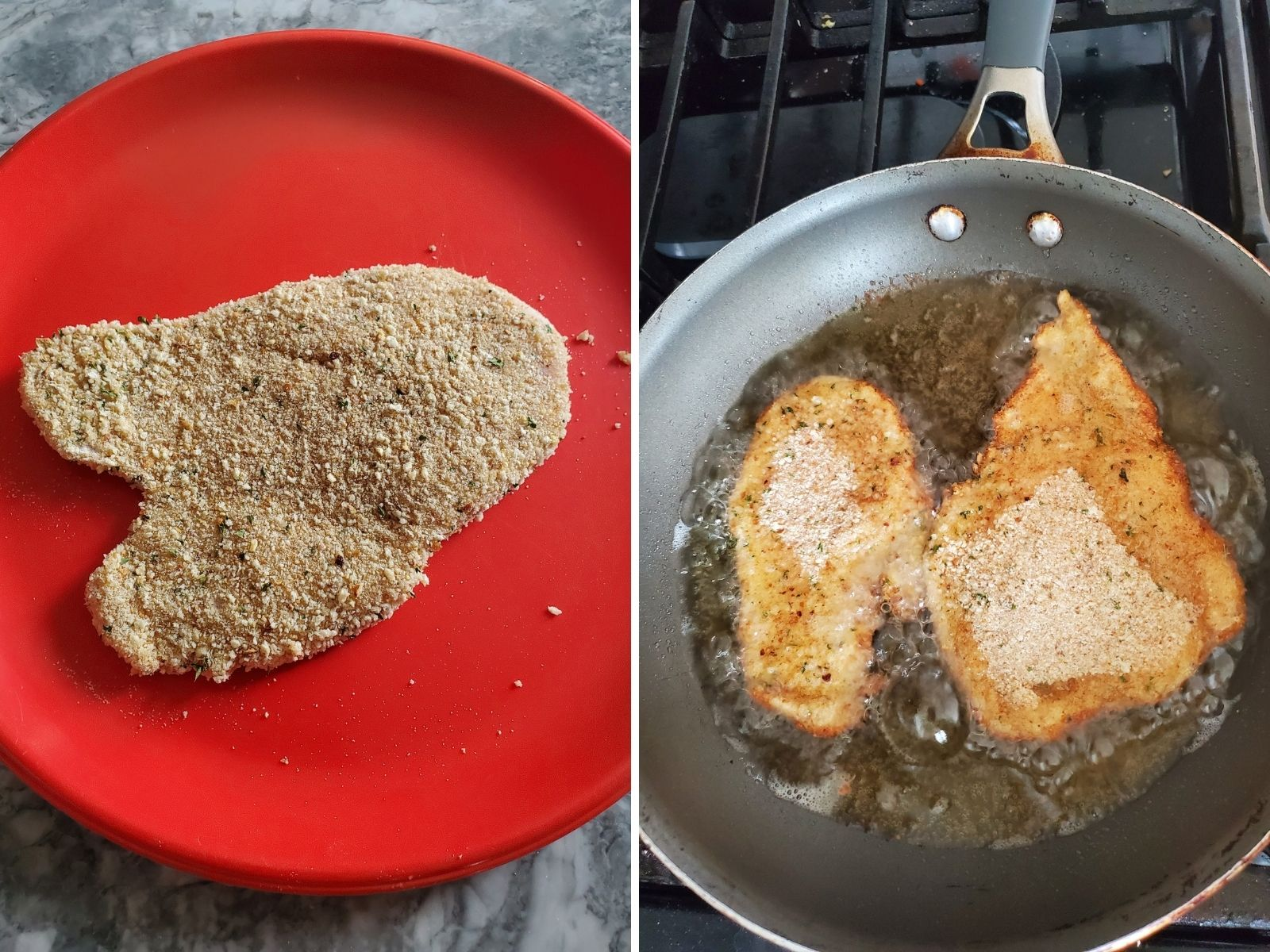 2 pictures, each of the cooking proces
