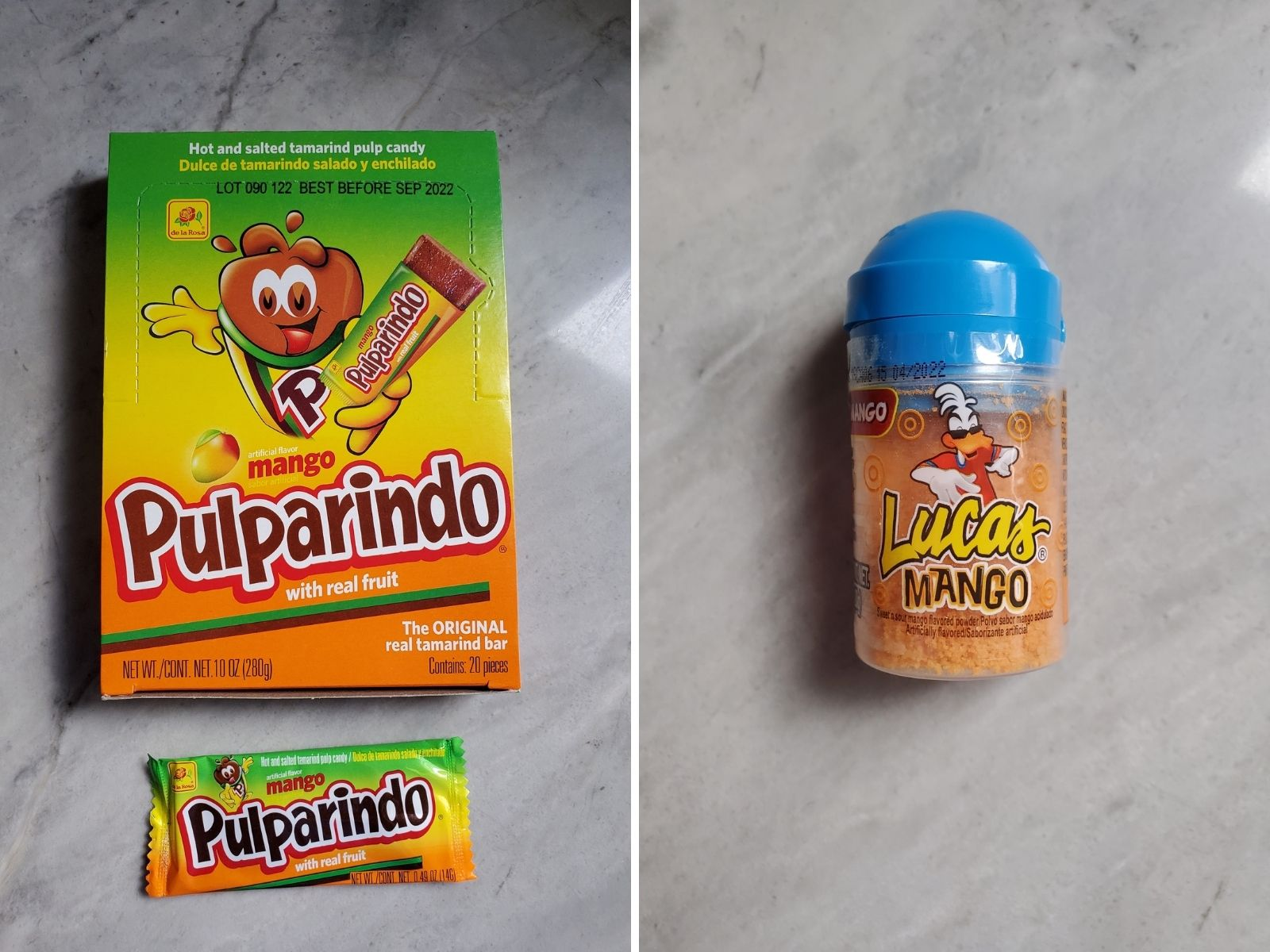 2 pictures, one showing the box of pulparindo and the other the jar of lucas mango candy