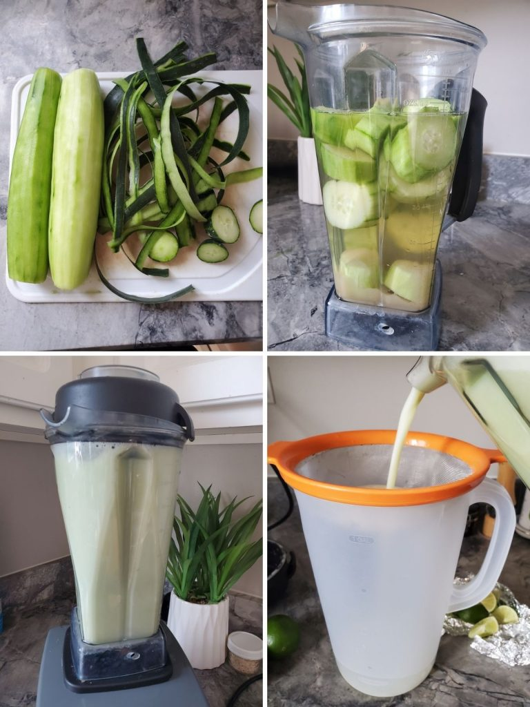 4 pictures of how to make cucumber water